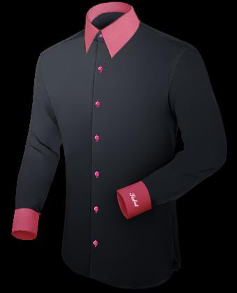 Blaue Slim Fit Hemd Guenstig with French Collar 1 Button