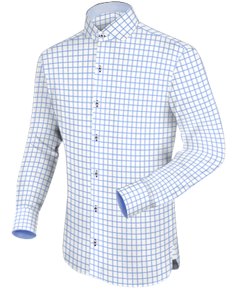 Designer Hemd Wei�� with Italian Collar 1 Button