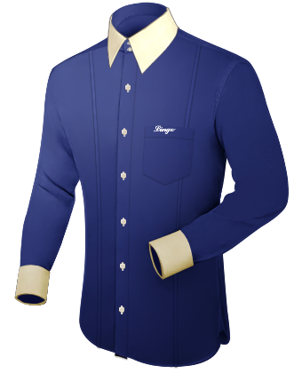 Hemd Royalblau with French Collar 2 Button