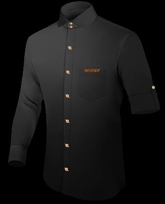 Hemden Kurz Gelb with Italian Collar 2 Button