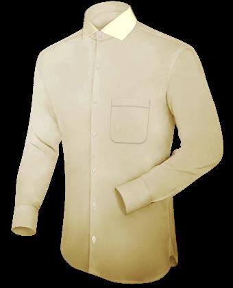Herren Hemden übergr���en with Italian Collar 1 Button