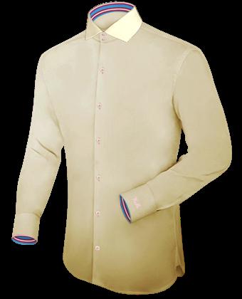 Oberhemd Zitronengelb with Italian Collar 2 Button