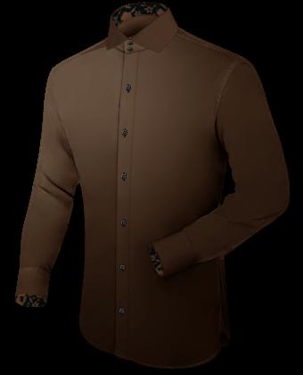 Oberhemden Kurzarm Royalblau Einfarbig with Italian Collar 2 Button