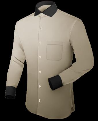 Umschlagmanschette Hemden Schwarz with Italian Collar 1 Button