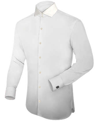 Wei��es Hemd Hoher Kragen with Italian Collar 2 Button