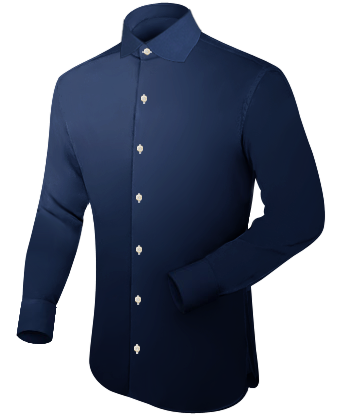 Weisses Manschettenknopf Hemd with English Collar