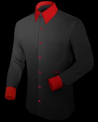 Herren Kurzarmhemden with French Collar 2 Button