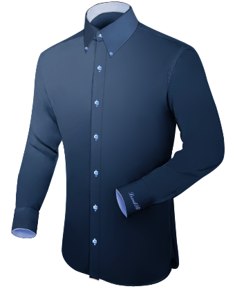 Herrenhemd Schwarz with French Collar 1 Button