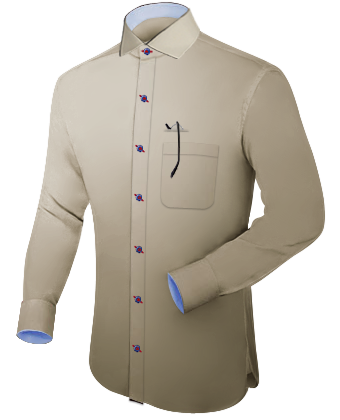 Ma��hemden with Italian Collar 1 Button