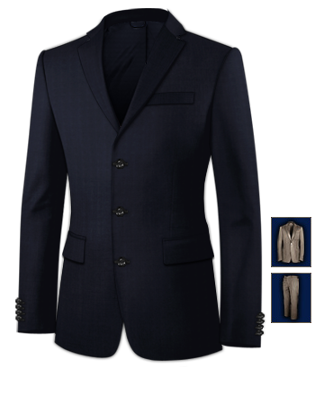 Suit with 3 Buttons, Single Breasted