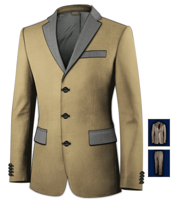 Online Schneiderei Anzug with 3 Buttons, Single Breasted